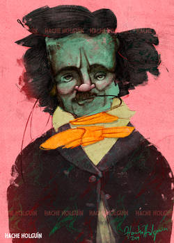 Retrato Edgar Allan Poe Por Hache Holguin 1