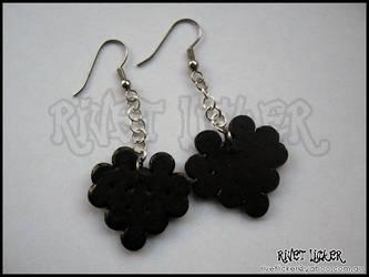 8-Bit Heart Earrings - Black
