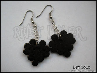 8-Bit Heart Earrings - Black by angeleyezxtc