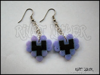 8-Bit Heart Earrings - Purple by angeleyezxtc