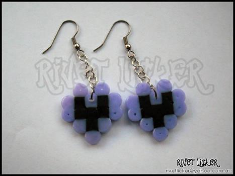 8-Bit Heart Earrings - Purple