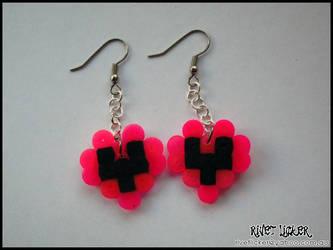 8-Bit Heart Earrings - Neon Pink