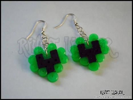 8-Bit Heart Earrings - Neon Green