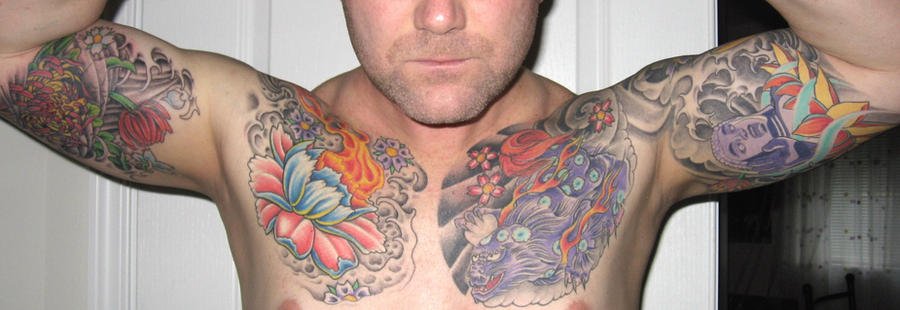 Chest Arm Tattoos - Foo, Peony by *jkrasher on deviantART