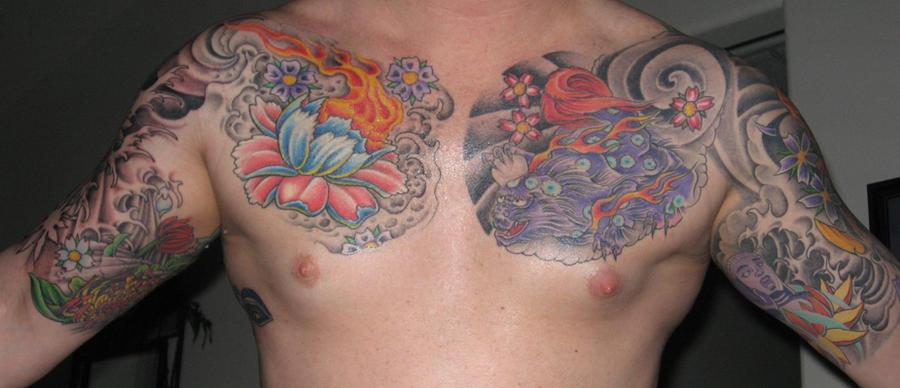 Flower Sleeve Chest Tattoos by jkrasher