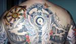 Upper Back Tattoo Dharma Wheel