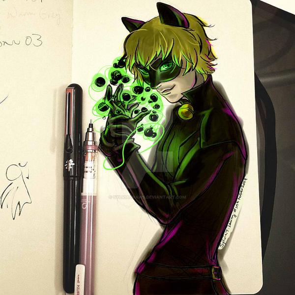 Chat Noir sketch by SylviaDraws