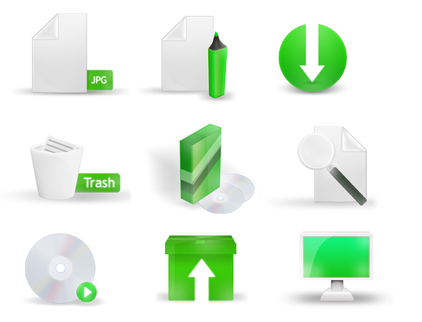 Green Icon Set by arglos