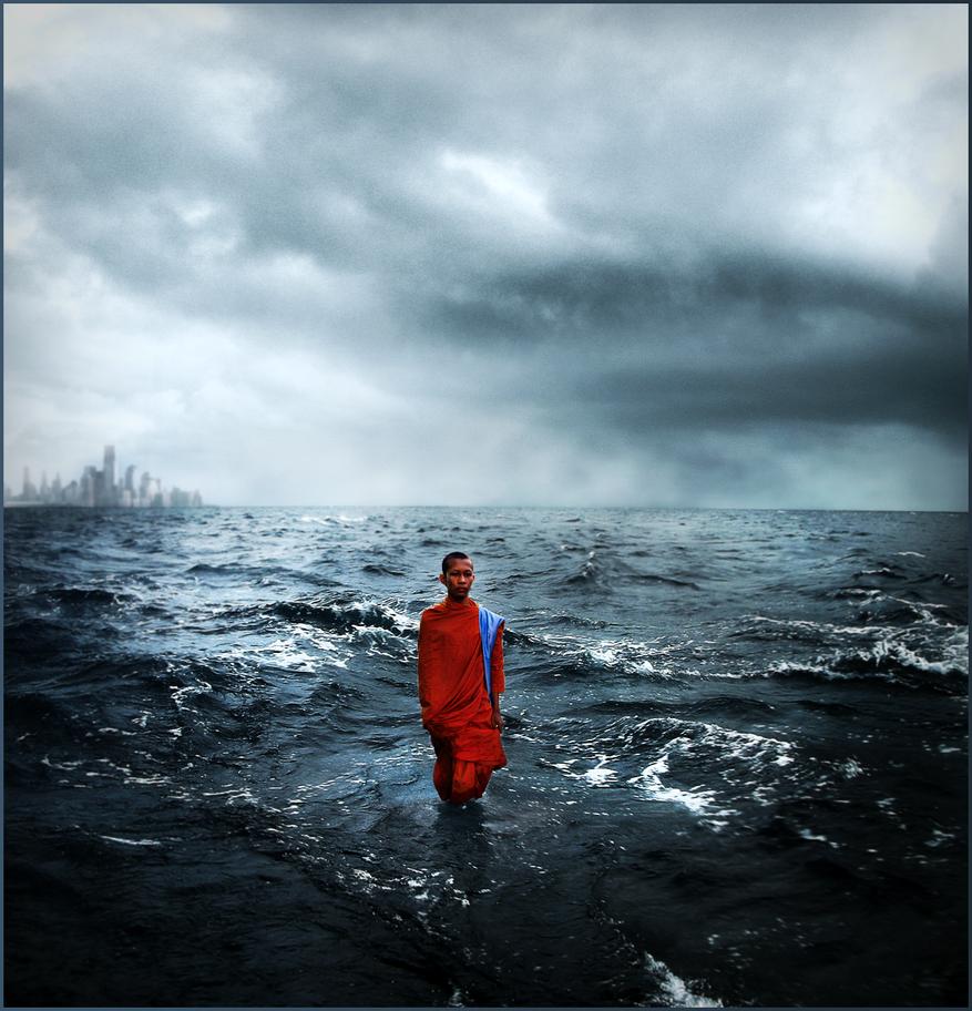 Buddhist Monk Walks Into Ocean By Ildari0n