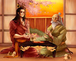 Zuko and Iroh having tea with turtleducks by MelanieMelanos