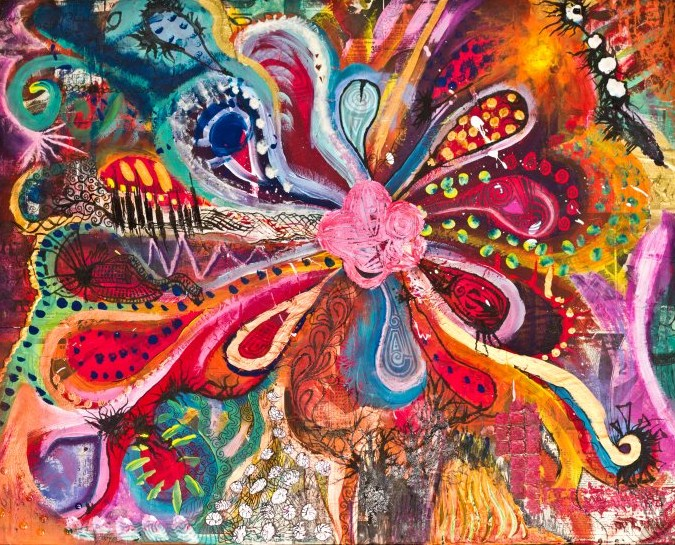 Abstract flower art car interior design for Abstract art flowers paintings