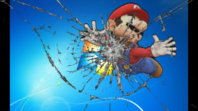 mario broke your computer screen wallpaper by cjc728 on