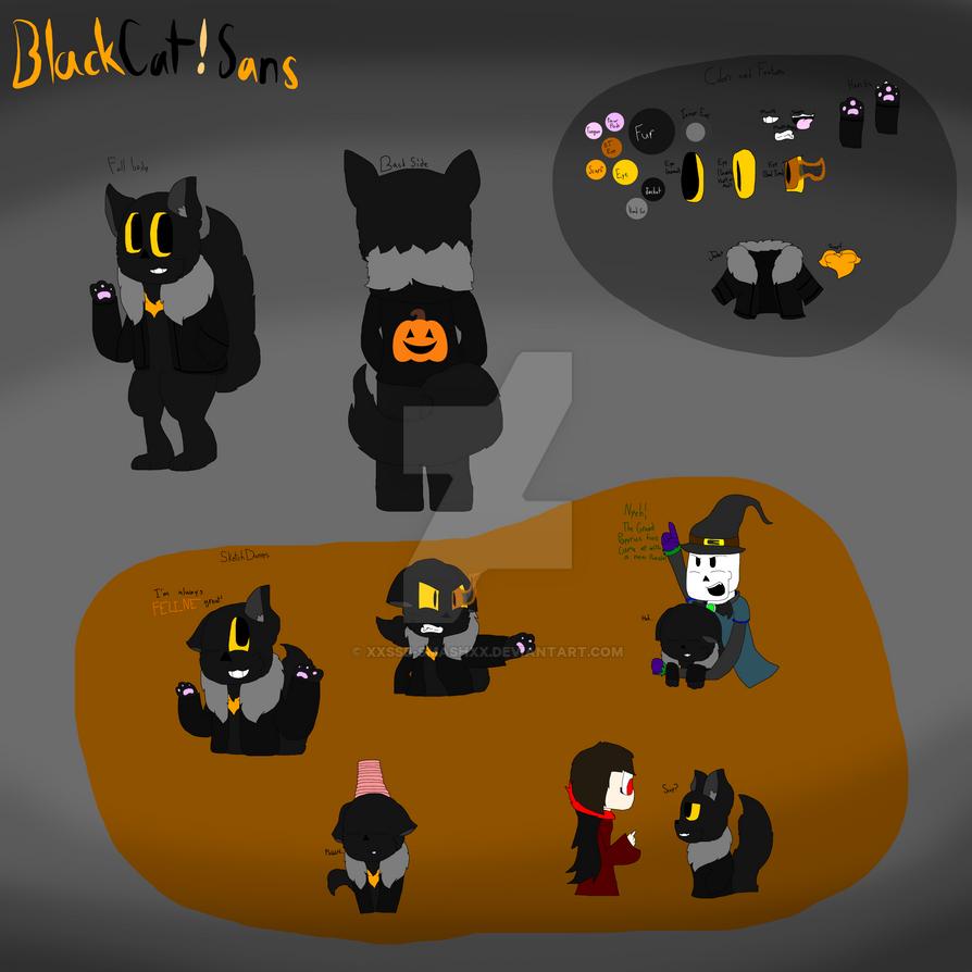 BlackCat!Sans or HalloweenTale Sans Ref by cjc728