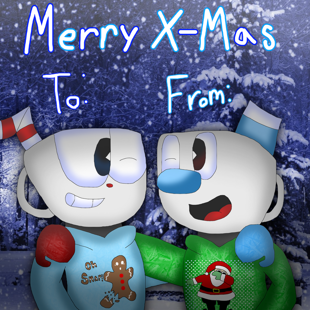 Happy Hoildays Christmas Card: CupHead Edition by cjc728