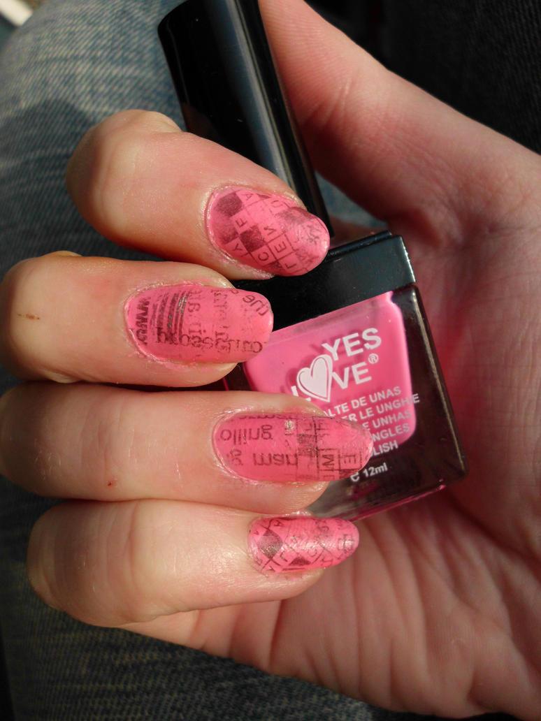 Pink Newspaper Nails by Pikkunasu on DeviantArt