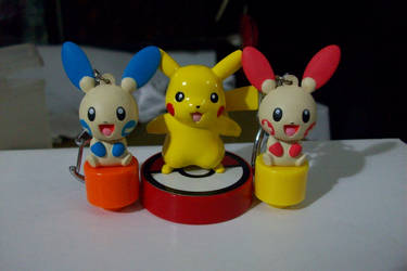 Pikachu with Plusle and Minun by Rage-DSSViper-Sigma