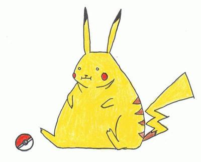Overweight Pikachu by KimiMonsterKitty