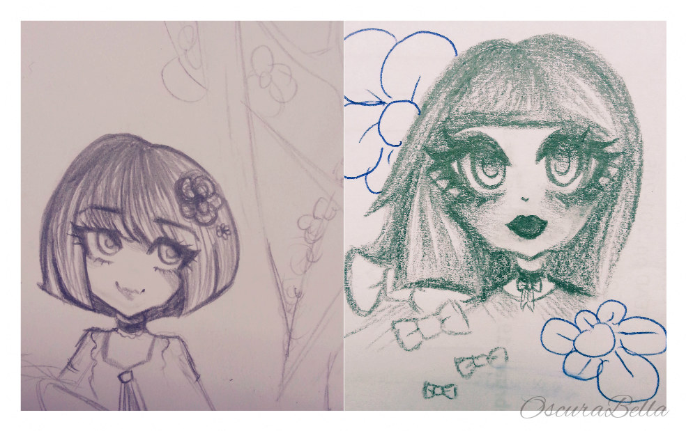 Traditional Flower Line Drawing : Flower girl aesthetic sketches by oscurabella on deviantart