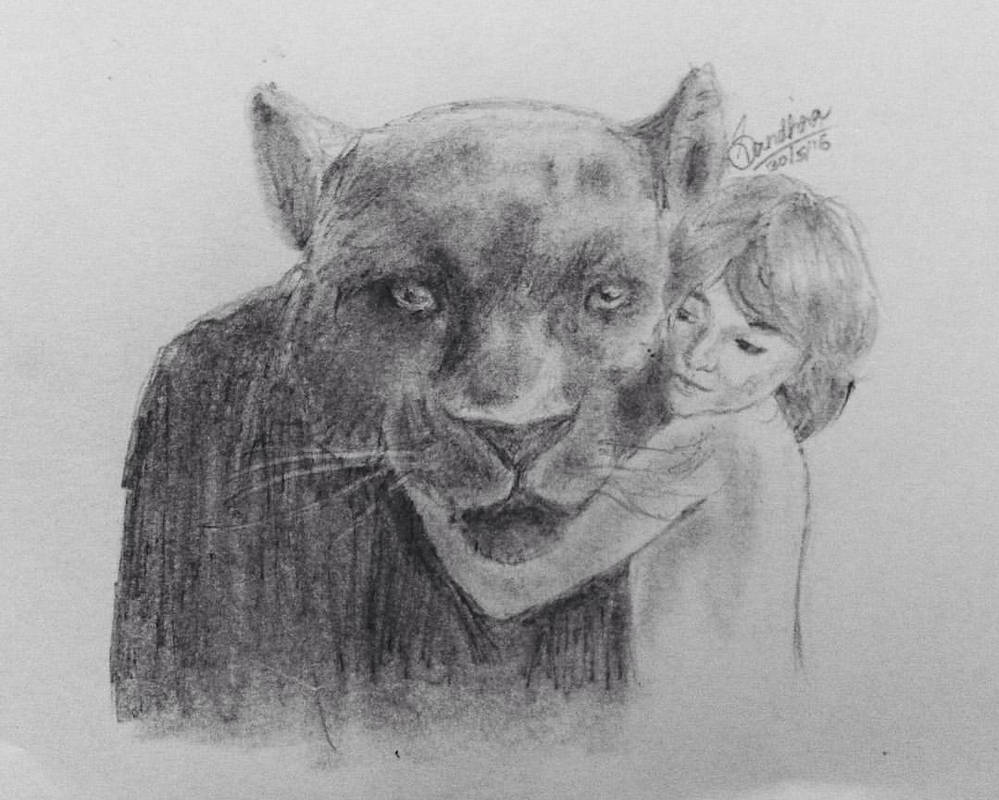 Jungle book pencil drawing by blu berry