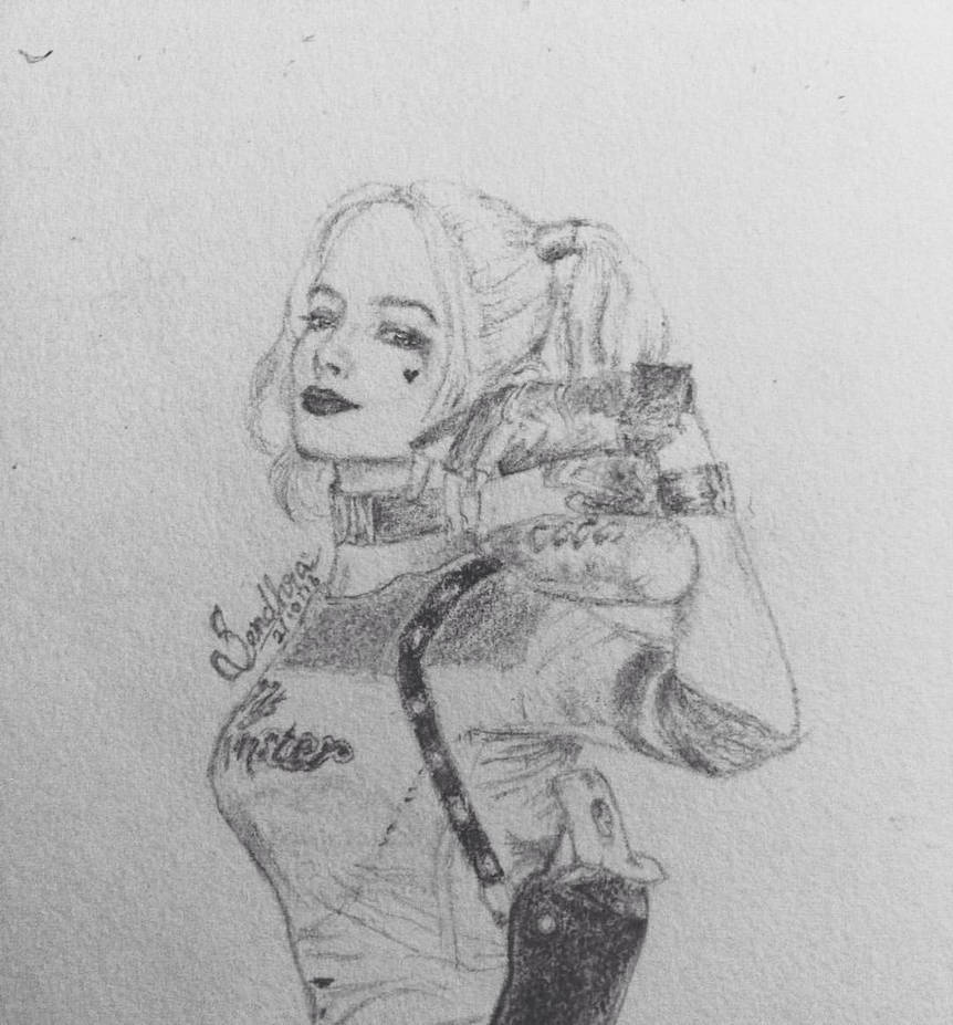 Harley quinn pencil drawing by blu berry on deviantart