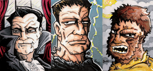 Sketch Cards-Classic Monsters by rustythewonderdog