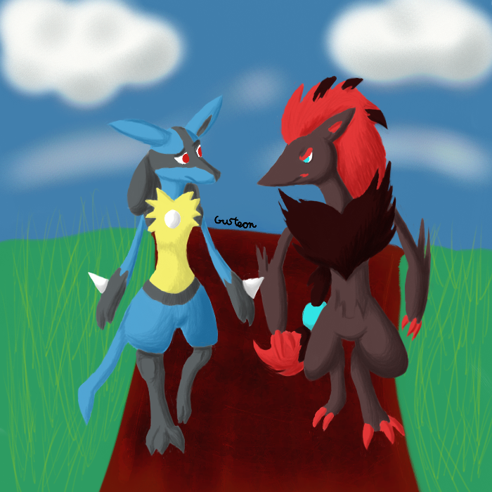 Lucario and Zoroark: Walking by Gusteon on DeviantArt