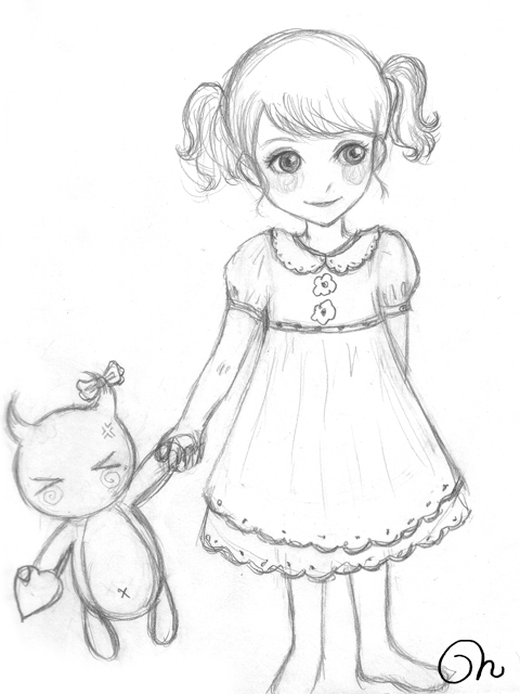 Sketch little girl by cqcat