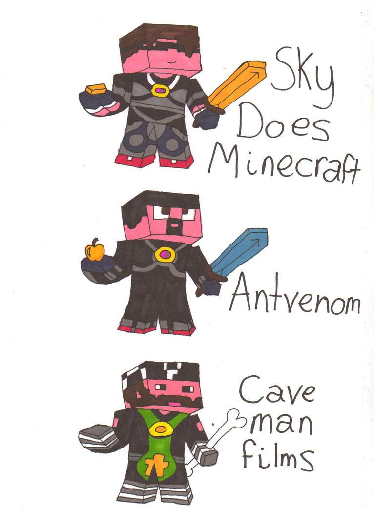Skydoesminecraft, Antvenom and Cavemanfilms skins by endninja