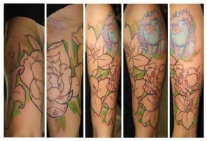 WIP flower Half sleeve by ragdollgrl13
