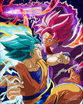 Blue Goku vs Rose Goku Black