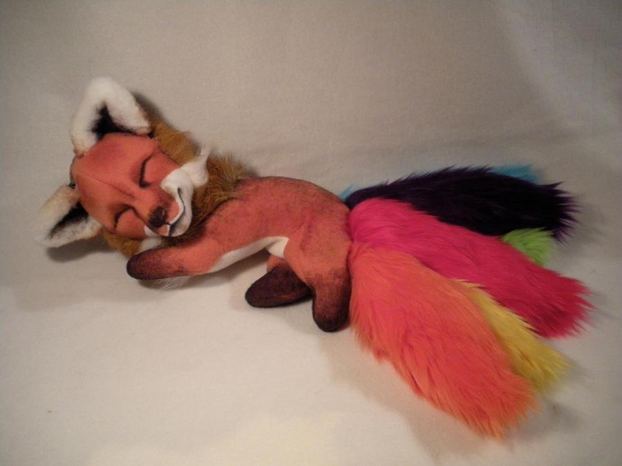Sleepy Rainbow Tailed Kyuubi by WhittyKitty