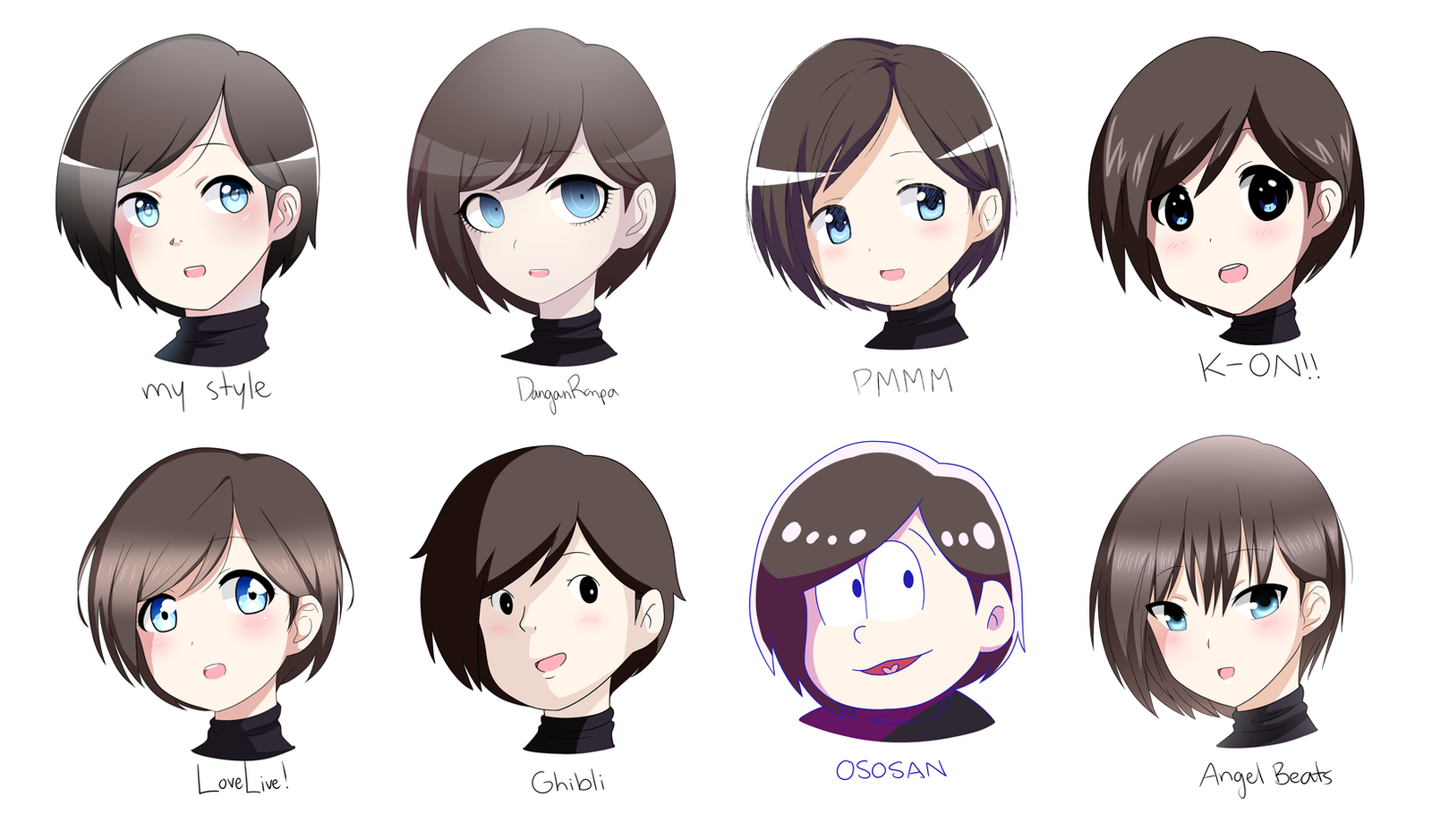 8 Different Anime Styles! By Karuuko On