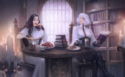 Commission: Bethrie and Catherine teatime
