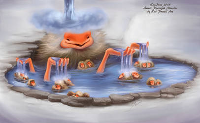 Snow Monkeys and Peaceful Monster by K-EL-P