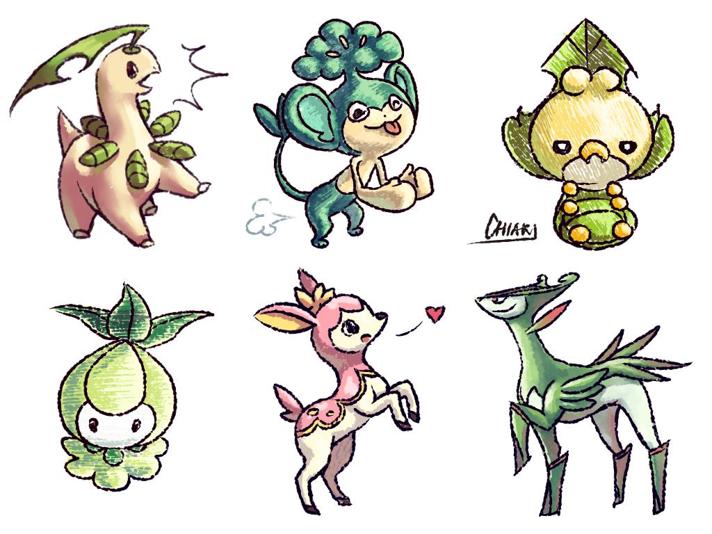 grass pokemon by chiakineko on deviantart