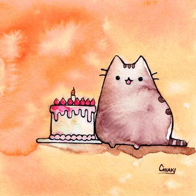 Pusheen says Happy Birthday by ChiakiNeko on DeviantArt