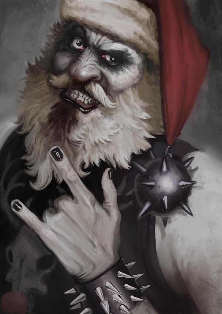 Black metal santa by sarmati on deviantart