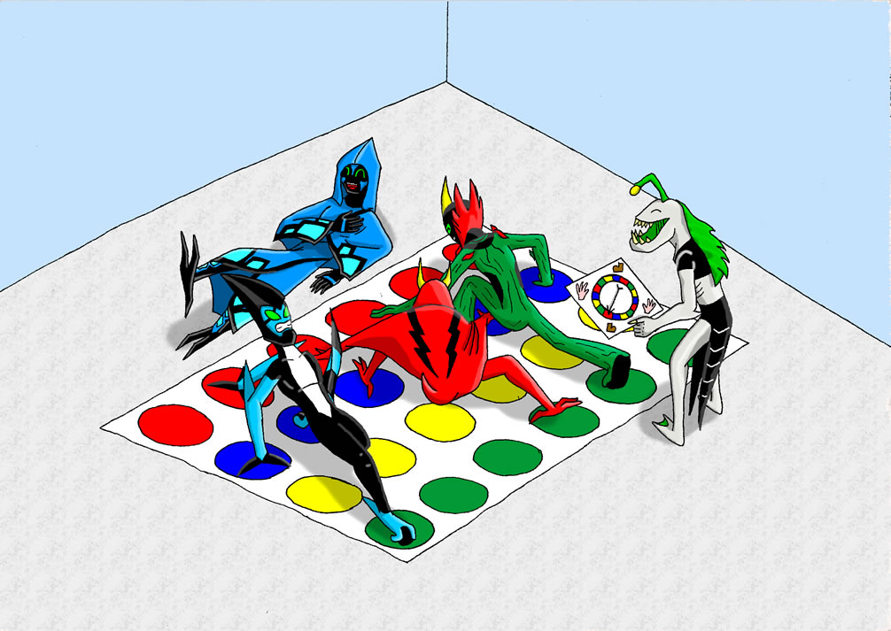 Aliens playing Twister by TeeheeXD