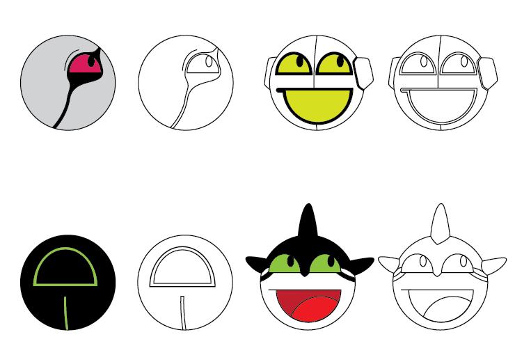 Happy Aliens sheet 3 by TeeheeXD