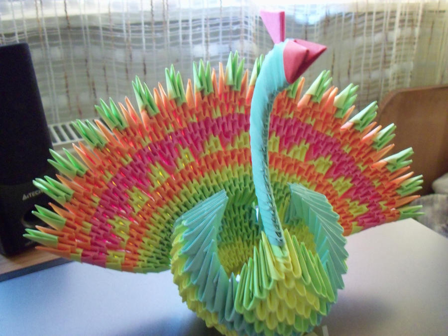 3d Peacock Origami