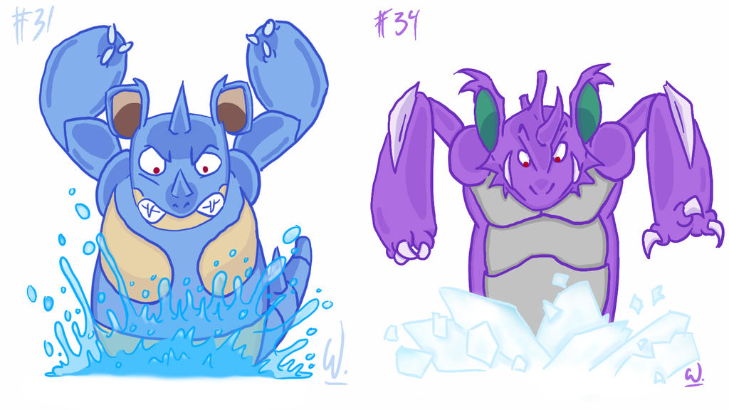 031 Nidoqueen 034 Nidoking by twitchSKETCH