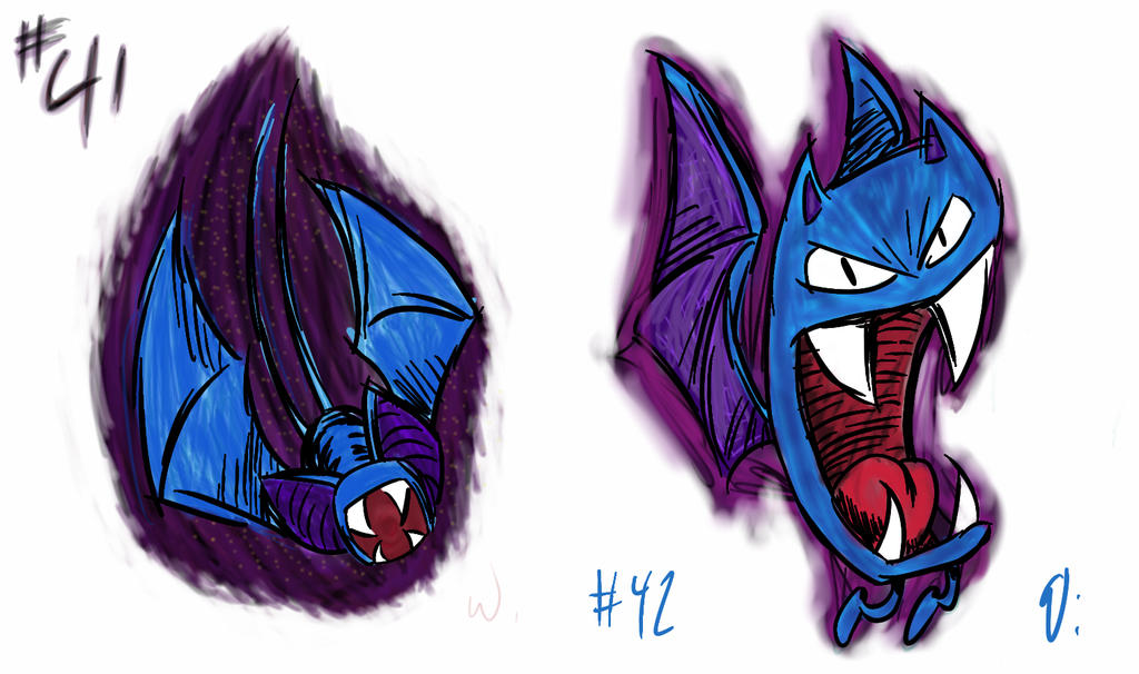 041 Zubat 042 Golbat by twitchSKETCH