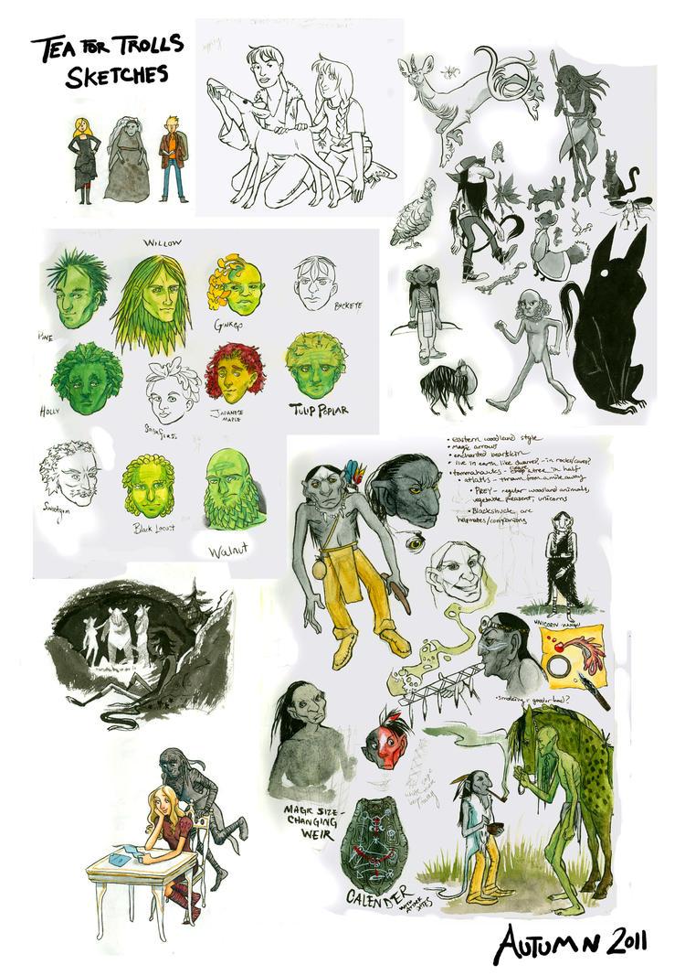 Tea for Trolls Sketches by carcadann