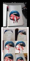 How I Drew: 'MURICA (Lip art pencil drawing)