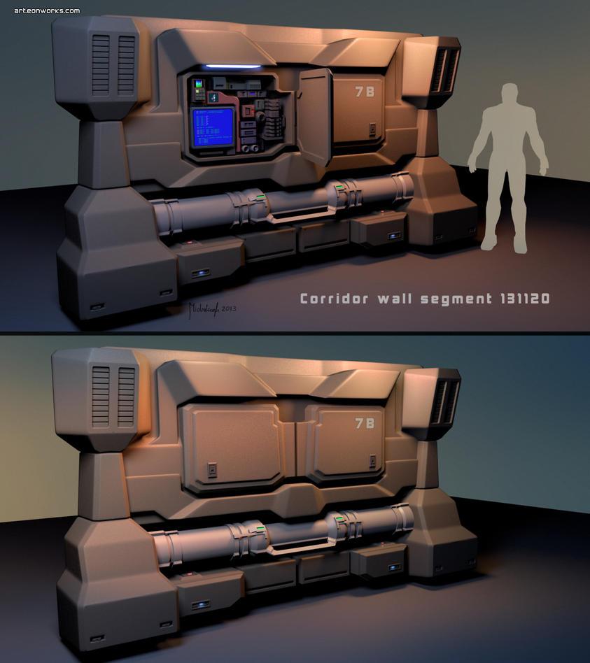 Sci-Fi corridor wall segment concept by dm3da