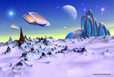 Alien base scouts - sci-fi landscape by Eon-Works