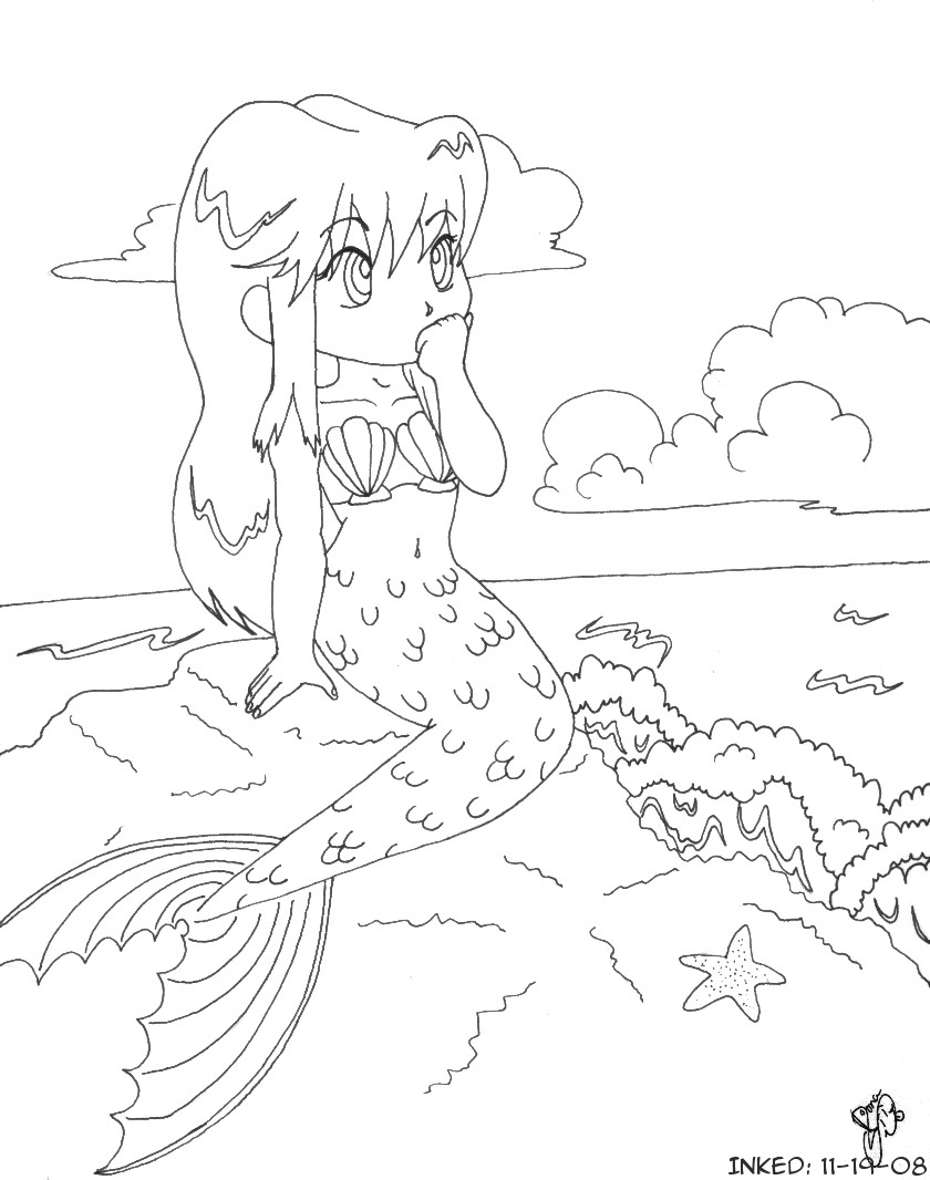 anime mermaids coloring pages - photo#31