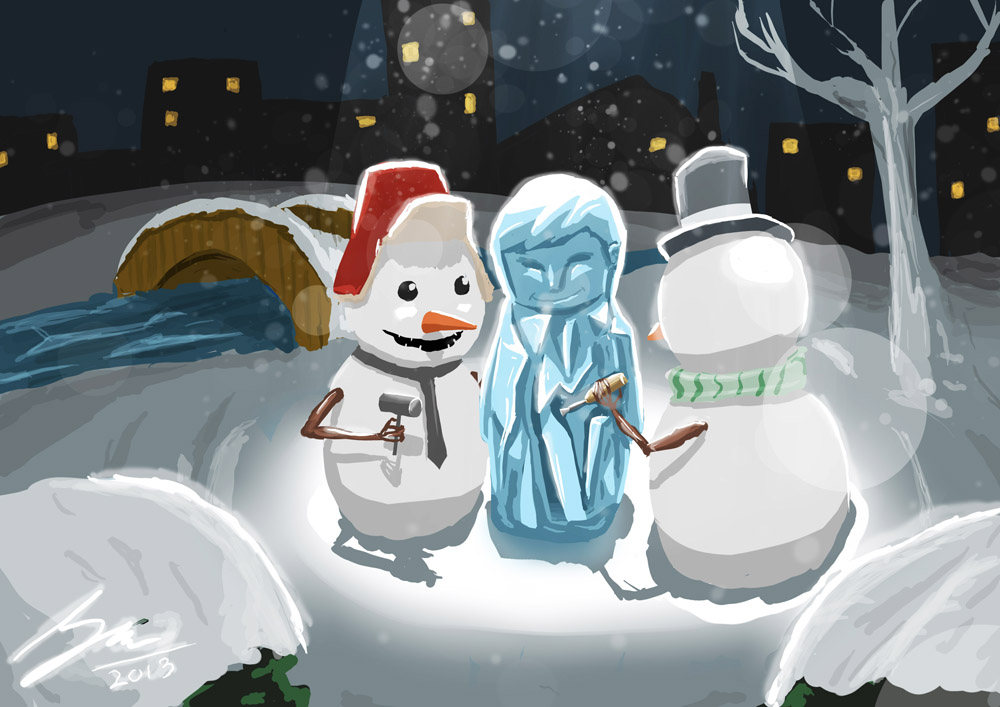 Snowman's Art Class by mbahsam