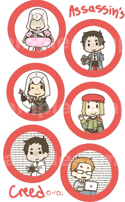 Assassin's Creed Button Set by jamknight