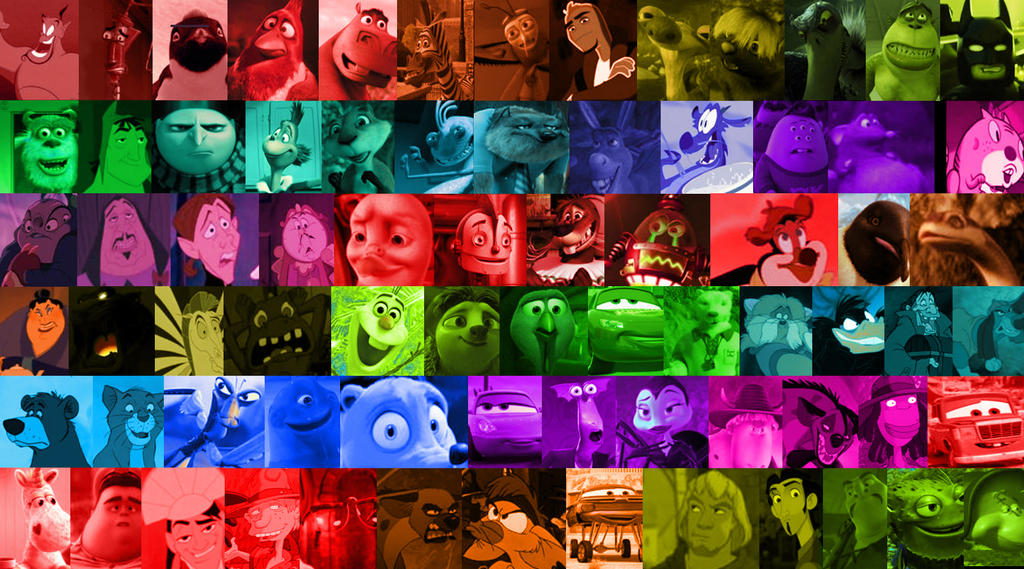 A Rainbow Of Animated Movie Characters By Michaelsar